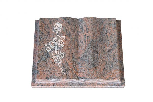 Grabbuch, Multicolor Granit, 60cm x 45cm x 10cm, inkl. vertiefter Rose