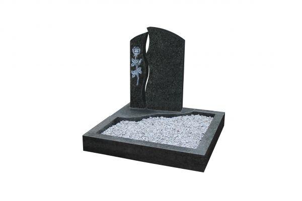 Urnengrabanlagen, Bros Blue Granit, inkl. gehauener Rose