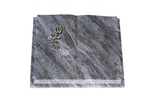 Grabbuch, Orion Granit, 60cm x 45cm x 10cm, inkl. Alurose mit Blättern