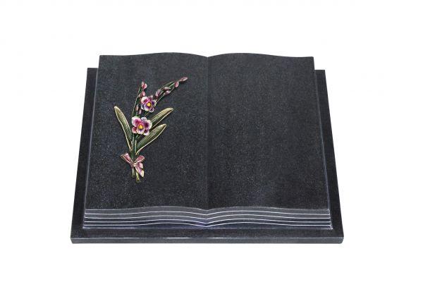 Grabbuch, Indien Black Granit, 45cm x 35cm x 8cm, inkl. Orchidee aus Bronze
